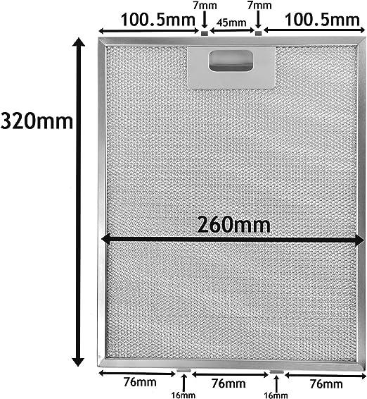 Hoover Metal campana aluminio malla filtro de grasa (mm x 260 mm): Amazon.es: Grandes electrodomésticos