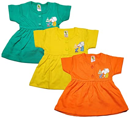 4adfbccfd52ac Cucumber Baby's Cotton Frock (0-3 Months) - Set of 3: Amazon.in ...