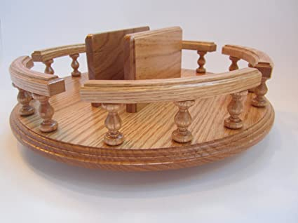 Amish Handcrafted 14u0026quot; Lazy Susan With Napkin Holder Turn Table  Revolving Solid Wood Oak Table