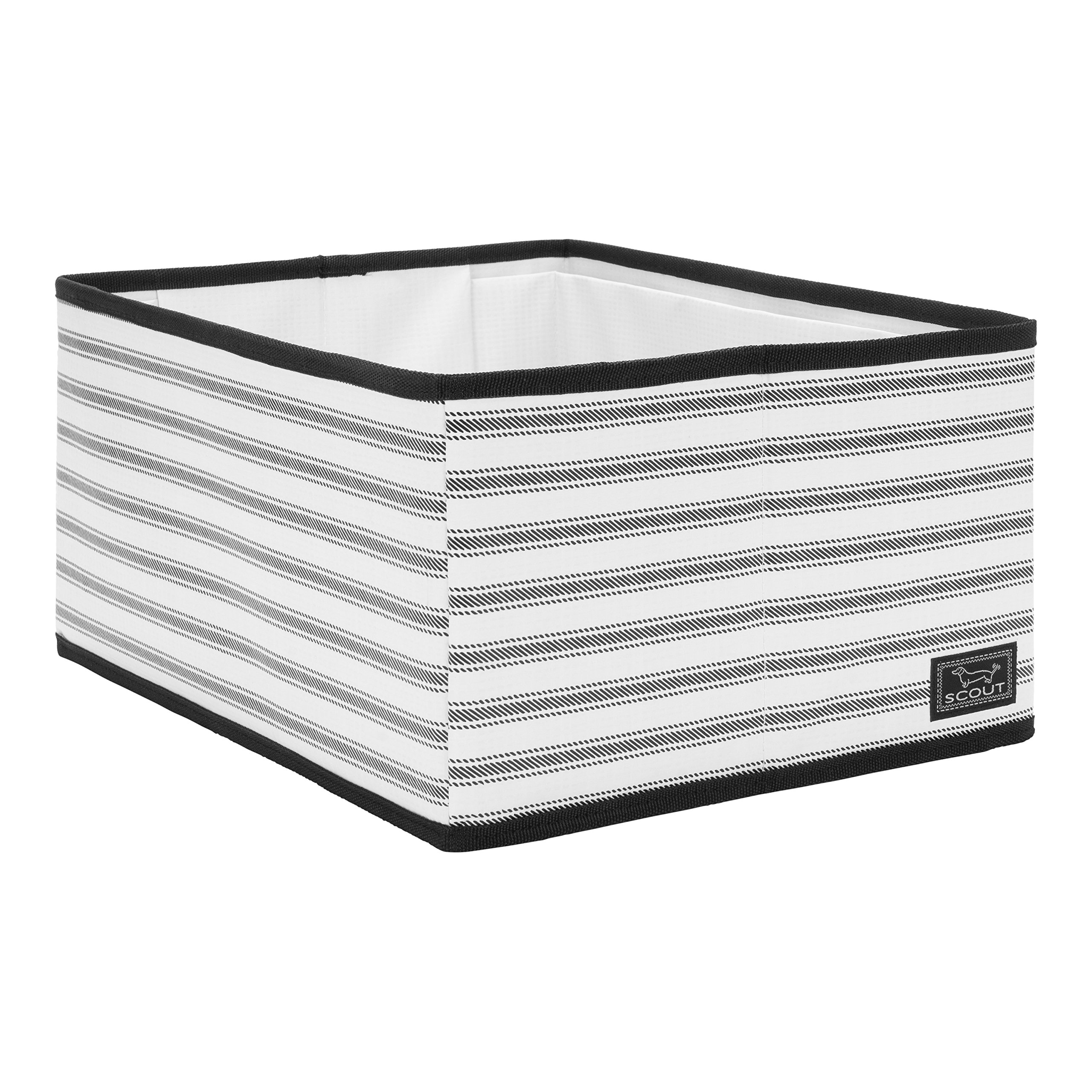 SCOUT Divide & Conquer Open-top Storage Bin, Stackable Design with Dividing Panel, Folds Flat, Water Resistant, College Ruled