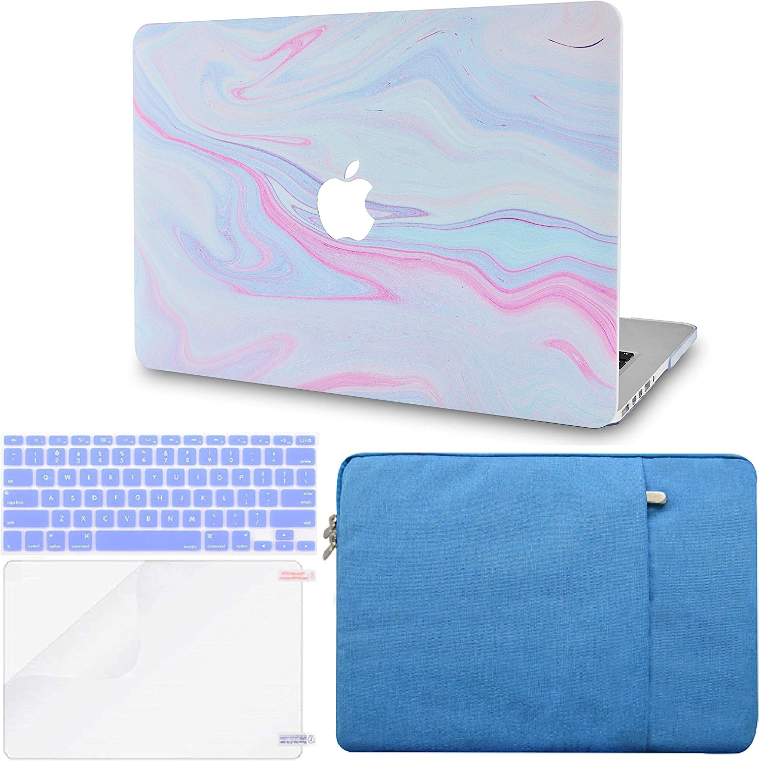 """LuvCase 4 in 1 LaptopCase forMacBookPro 13"""" (2016-2020) w/wo Touch Bar A2159/A1989/A1706/A1708 HardShellCover, Sleeve, Keyboard Cover & Screen Protector(Purple Marble with Pink Veins)"""