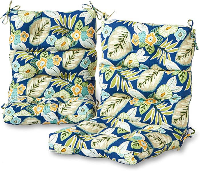 Greendale Home Fashions Outdoor High Back Chair Cushion (set of 2), Marlow