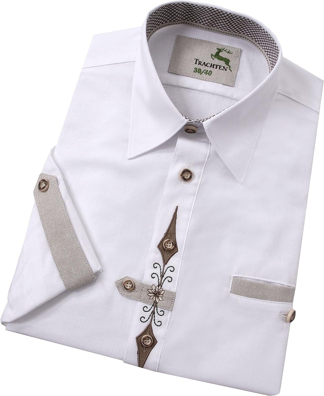 Moschen-Bayern Camisa de Manga Larga para Hombre, Pradera, para Traje Regional o Oktoberfest, Color Blanco: Amazon.es: Ropa y accesorios