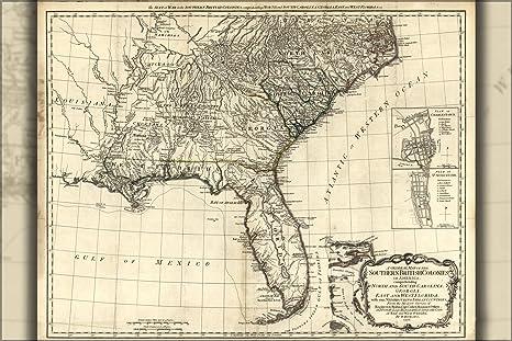 Map Of North Florida And South Georgia.Amazon Com 20x30 Poster Map Of North South Carolina Georgia