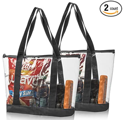 2 Large Clear Vinyl Tote Bags Stadium Approved Shoulder Handbag Shopping  Work 82788b79996e3