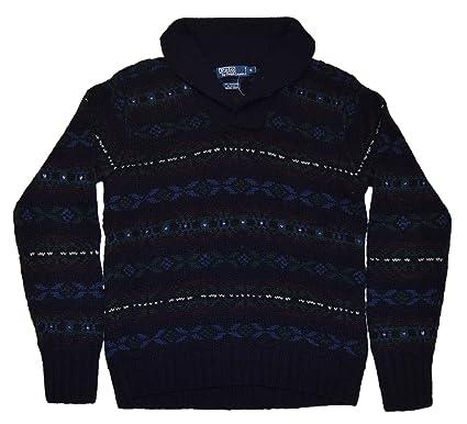 Polo Ralph Lauren Men Cashmere Wool Knit Shawl Indian Sweater Navy Medium
