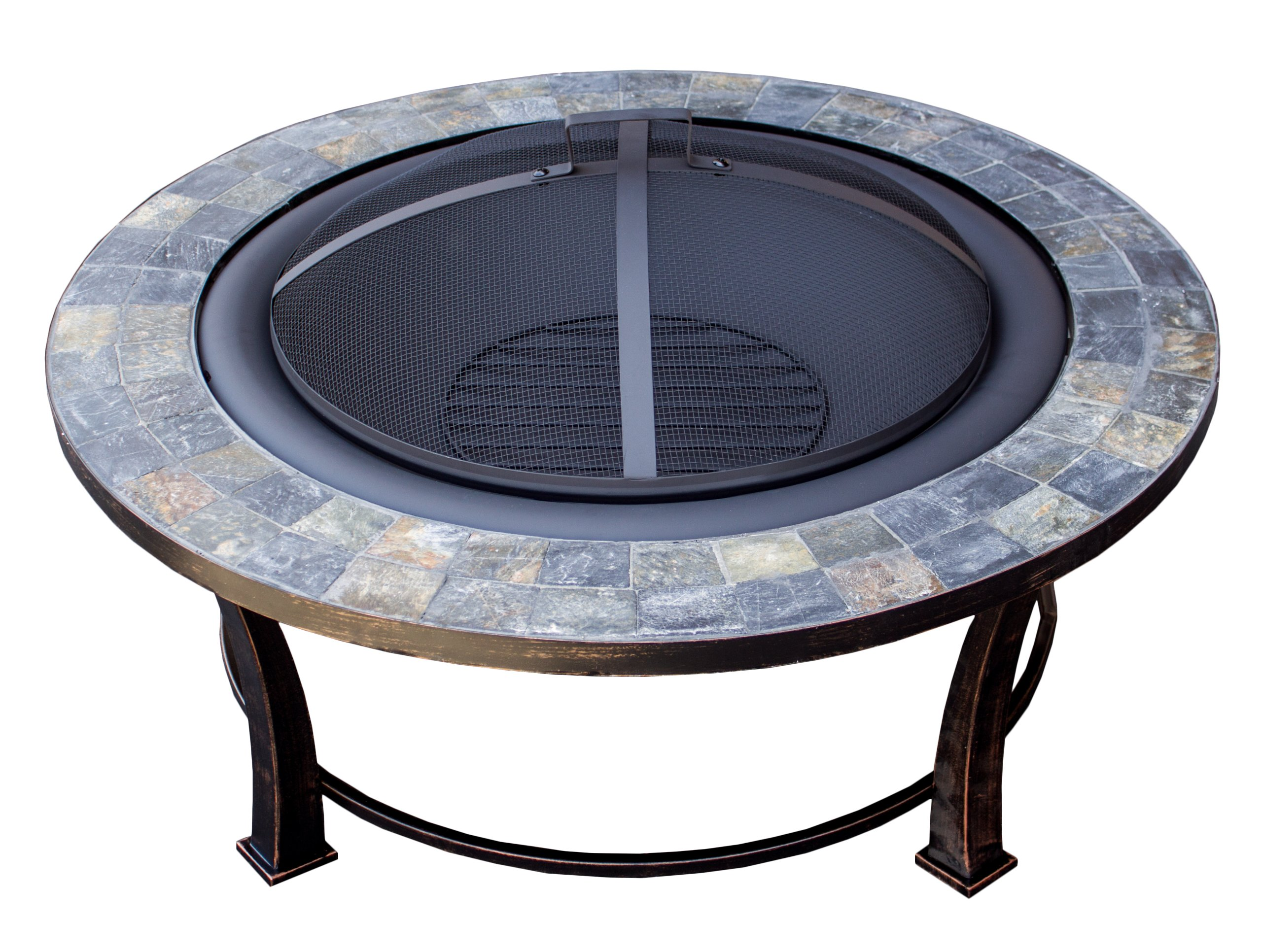 Hiland FT51216 Burning Fire Pit w/Wood Grate and Domed Mesh Screen Lid, Medium, Stone
