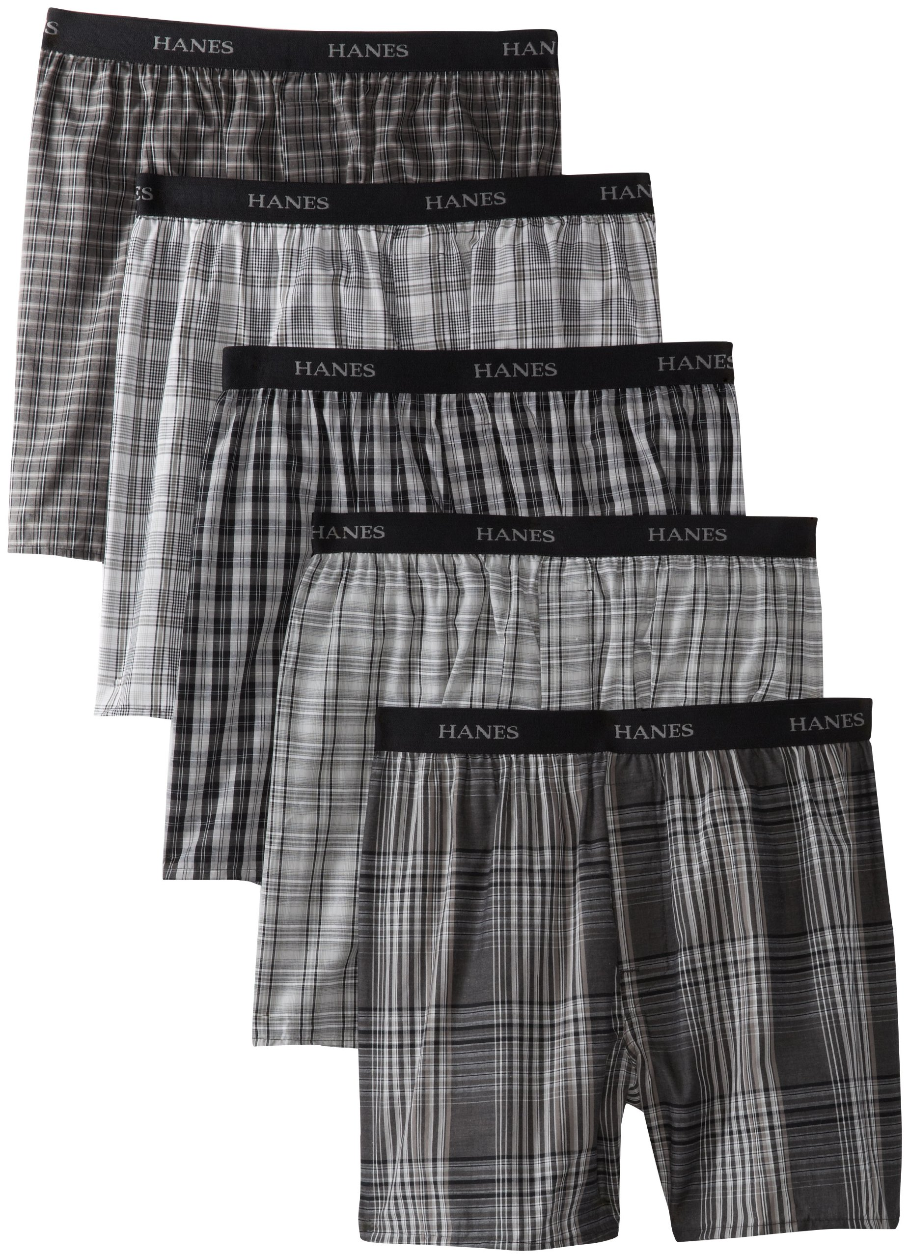 Hanes Ultimate Men's 5-Pack Yarn Dye Exposed Waistband Boxer - Colors May Vary, Black/Blue, Medium