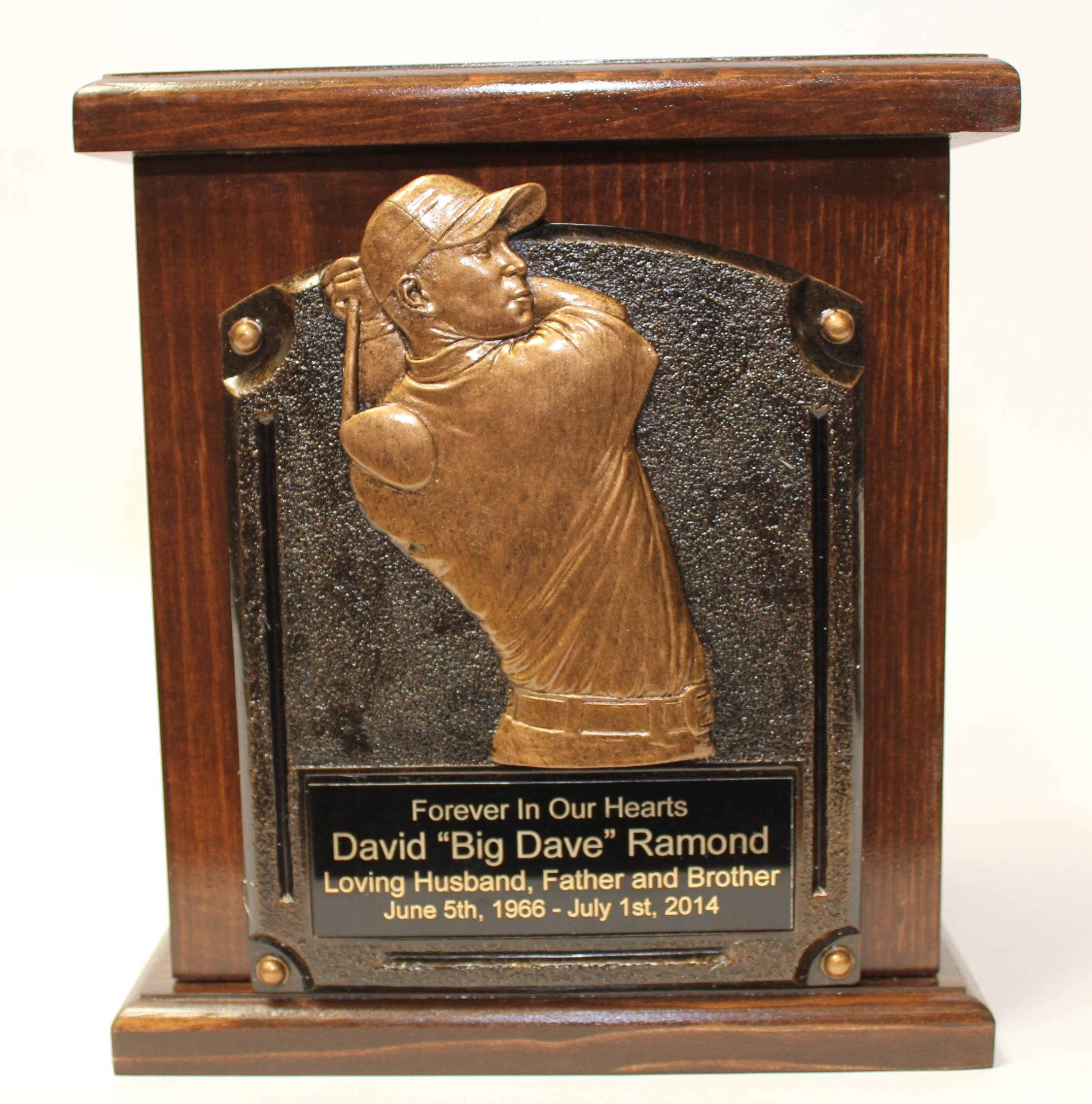 Golf Adult Memorial Wood Cremation Urn-Sports Funeral Urns-w/personalization