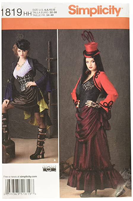 Amazon.com: Simplicity 1819 Misses Steampunk Costume Sewing Pattern ...