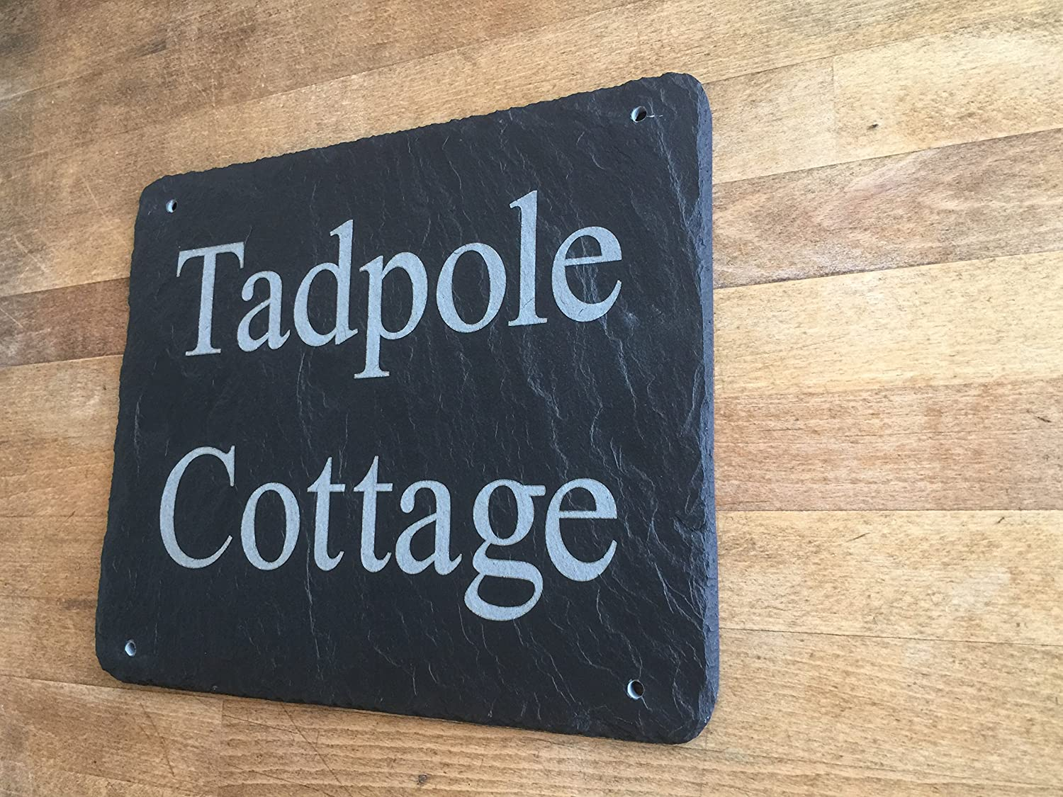Beautiful natural slate house sign 20cm x 15cm traditional rustic finish amazon co uk kitchen home