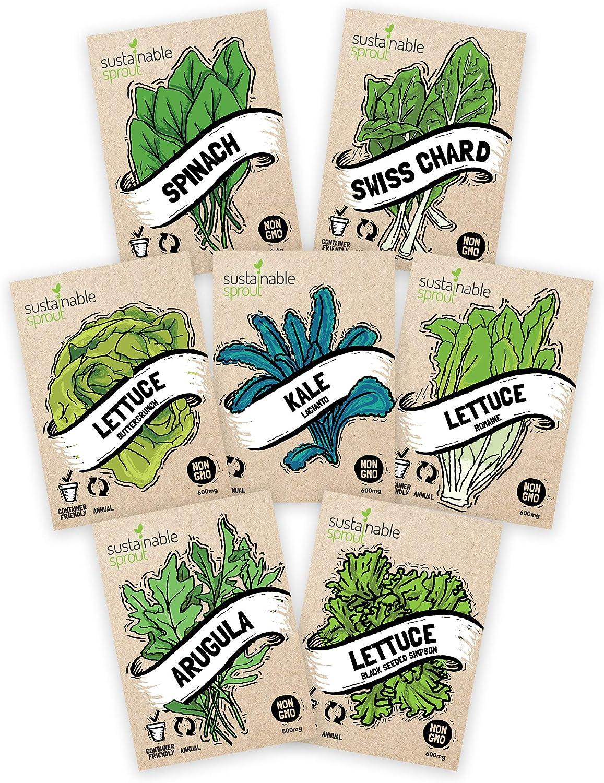 Salad Greens Seeds Kit - 100% Non GMO – Leaf Lettuce, Bibb Lettuce, Romaine Lettuce, Kale, Arugula, Spinach, Swiss Chard. Leafy Greens for Planting in Your Organic Vegetable Garden