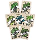 Salad Greens Seeds Kit - 100% Non GMO – Leaf Lettuce, Bibb Lettuce, Romaine Lettuce, Kale, Arugula, Spinach, Swiss Chard. Lea