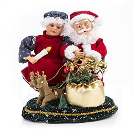 animated mr and ms claus music box figurine plays carols great christmas - Christmas Plays For Adults