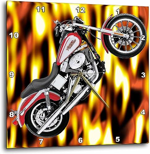 3dRose dpp_ 3175_3 Wall Clock Picturing Harley-Davidson Number 174 Motorcycle