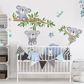 Bilderwelten Wandtattoo Kinderzimmer Koala Set Wandtattoo Wandsticker  Kinderzimmer Bär Illustration, Größe: 80cm X 60cm