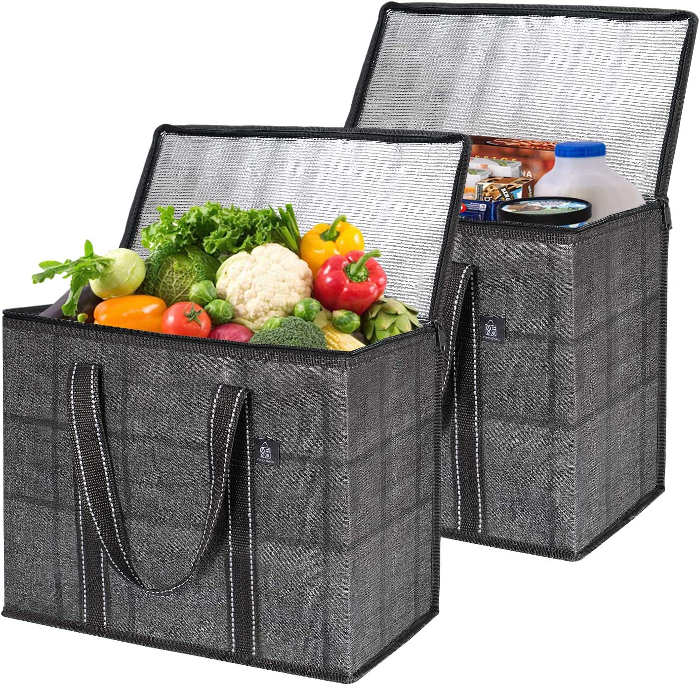 2 Pack Insulated Reusable Grocery Bag With Cardboard Bottom by VENO, Durable, Heavy Duty, Large Size, Stands Upright, Collapsible, Sturdy Zipper, Recycled Material, Eco-Friendly (Black/Windowpane)