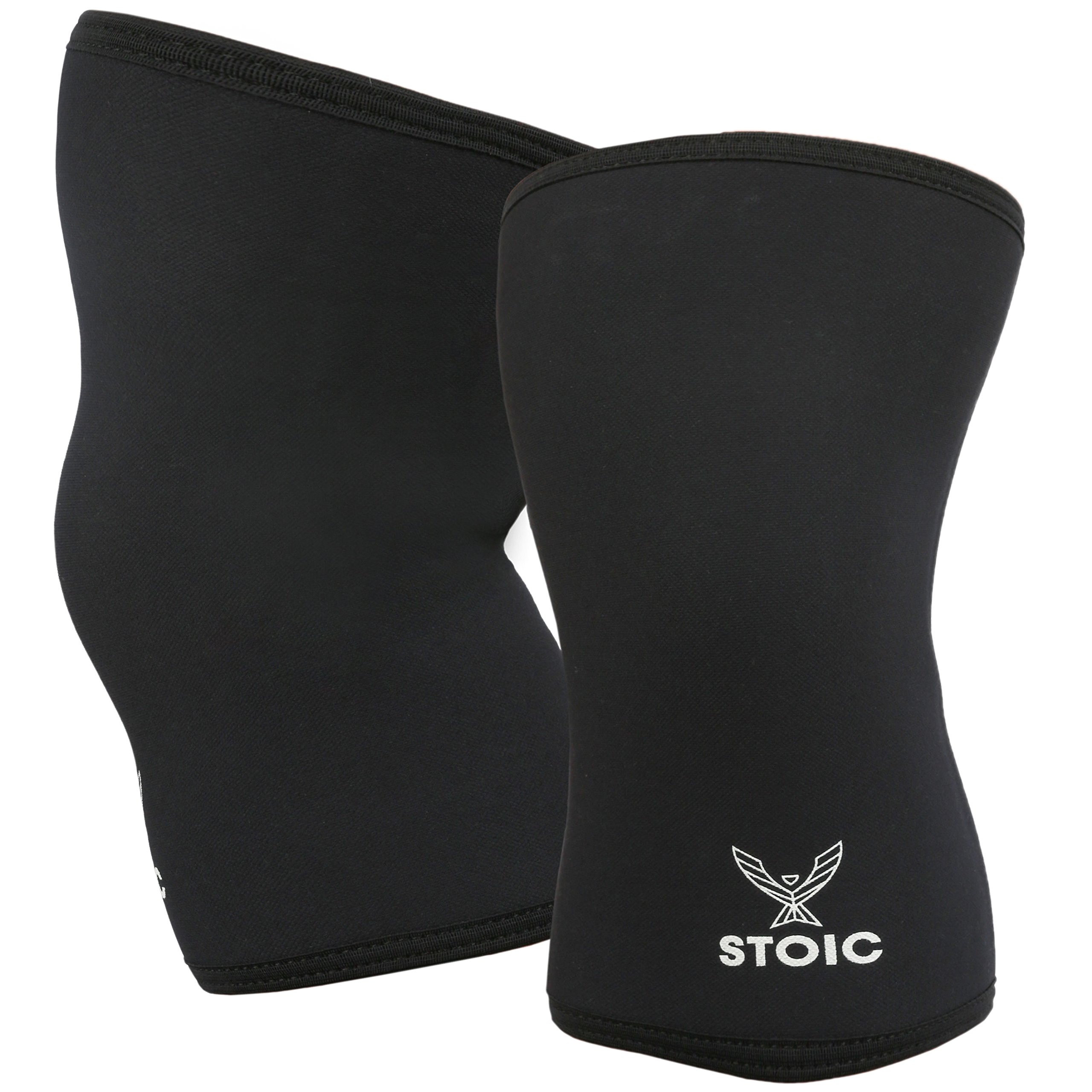 Stoic Knee Sleeves for Powerlifting - 7mm Thick Neoprene Sleeve for Bodybuilding, Weight Lifting Best for Squats, Cross Training, Strongman Professional Quality & Ultra Heavy Duty (Pair) (Large) by Stoic