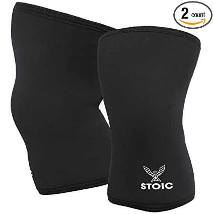 05f2fffb4a Stoic Knee Sleeves for Powerlifting - 7mm Thick Neoprene Sleeve for  Bodybuilding, Weight Lifting Best for Squats, Cross Training, Strongman  Professional ...