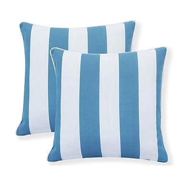 Decor Venue Water Resistant Indoor/Outdoor Square Patio Decorative Stripe Throw Pillow Cushion - Set of 2 - 18  x 18  - Light Blue