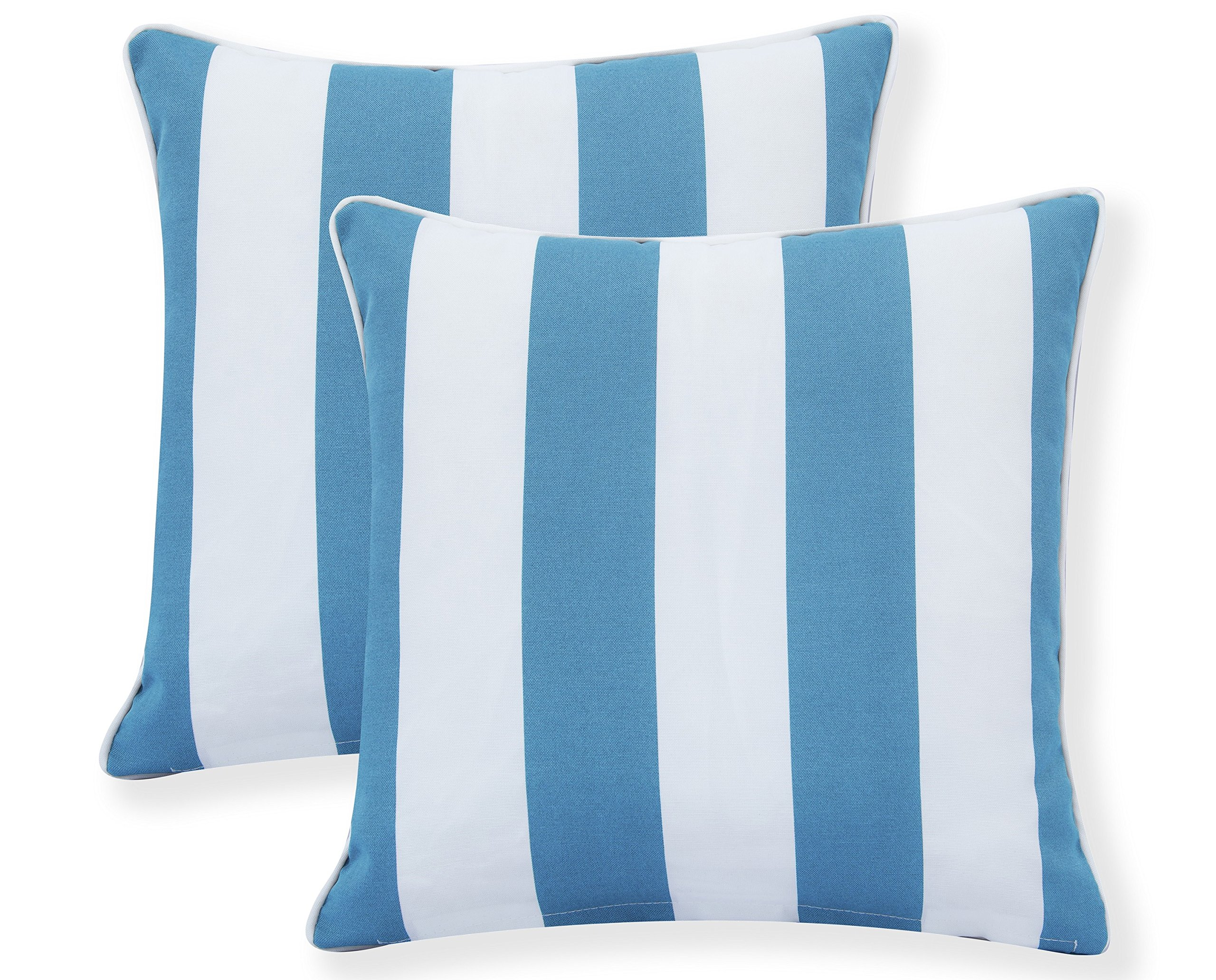 Decor Venue Water Resistant Indoor/Outdoor Patio Decorative Stripe Throw Pillow Cushion - Set of 2-18'' x 18'' - Light Blue by Decor Venue