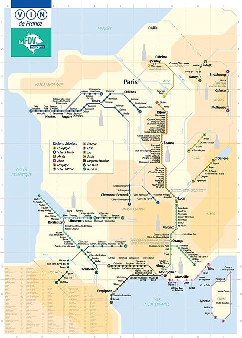 Affiche Poster Plan De Metro Carte Des Vins De France Fine Art 50