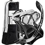 U.S. Divers Admiral Snorkeling Set Premium Silicone Snorkel Mask, Medium/7-10, Black