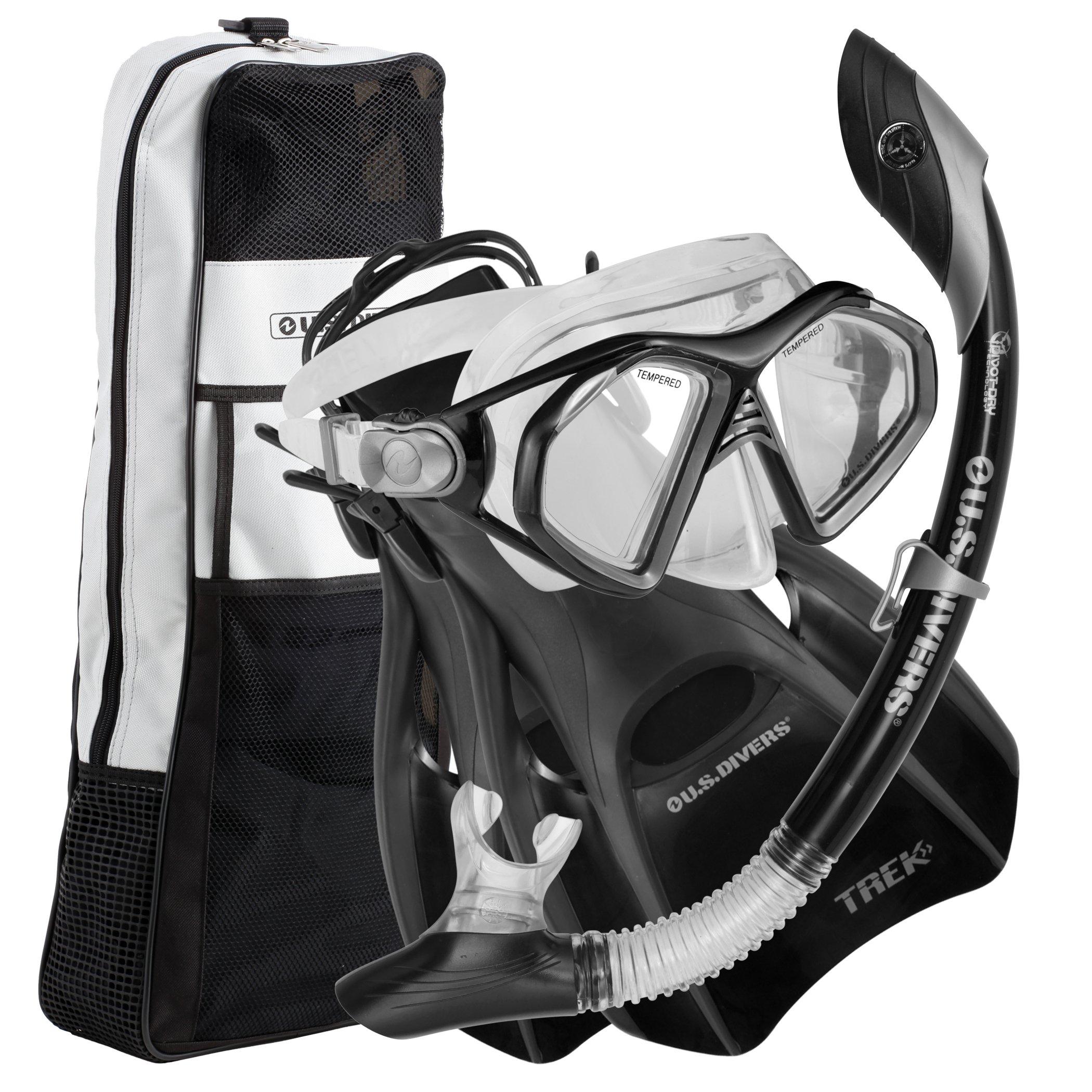 US Divers Admiral LX Island DryTrek Snorkel Set2012,Black,Large by U.S. Divers