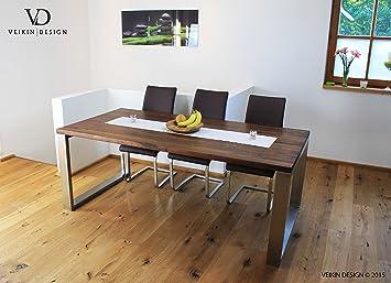 Esstisch Massivholz Edelstahl Serie U0026quot;Munichu0026quot;, Tisch Holz Nussbaum  Amerik. Massiv 140