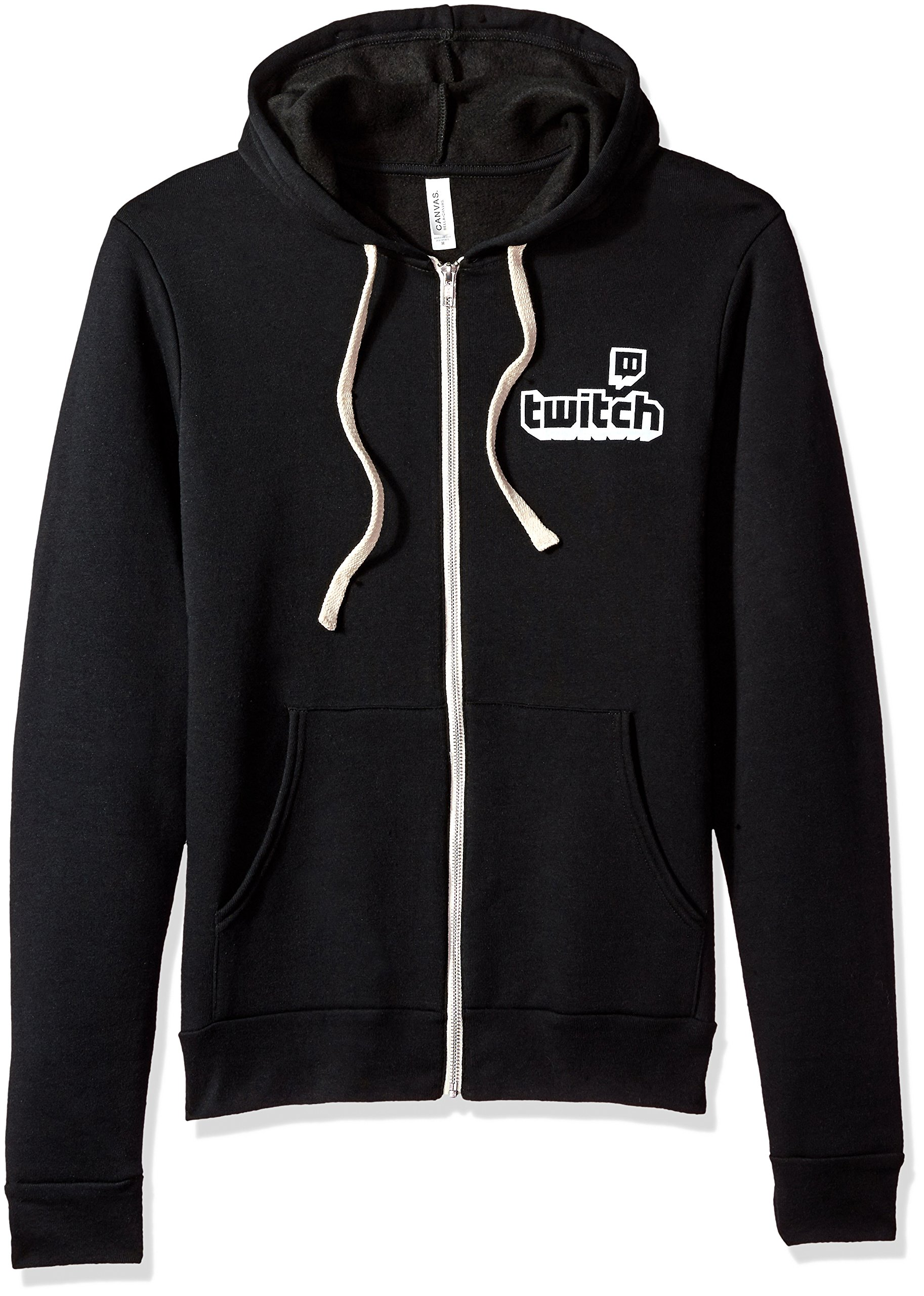 Twitch Logo Unisex Full Zip Hoodie (Large, Black)