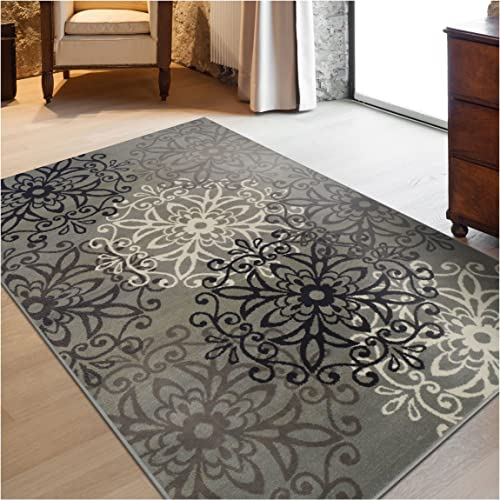 Superior Elegant Leigh Collection Area Rug, 8mm Pile Height with Jute Backing, Chic Contemporary Floral Medallion Pattern, Anti-Static, Water-Repellent Rugs – Blue, 8 x 10 Rug