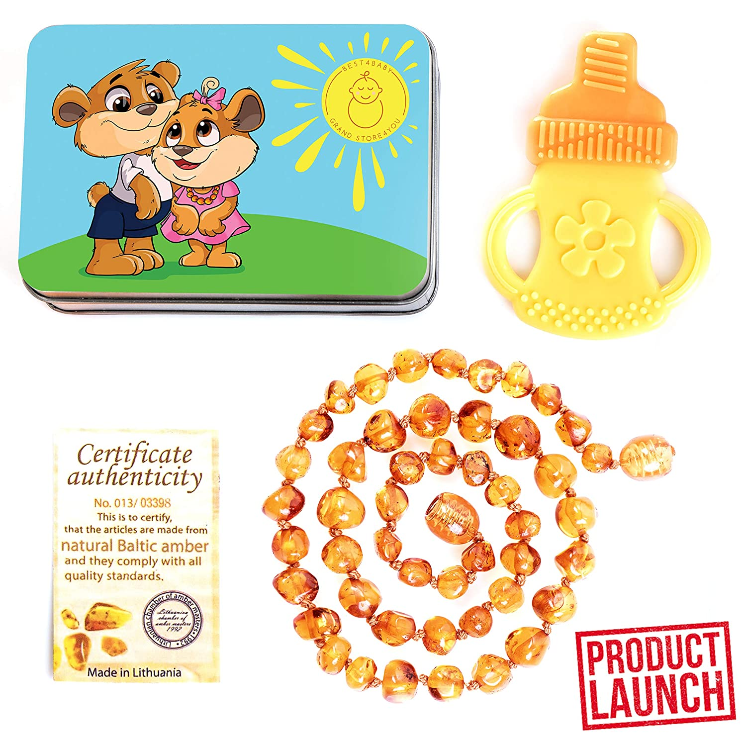 Natural Baltic Amber Teething Necklace - Perfect Baby Shower Gift Set (Unisex) (12.5 Inches), Certified Baltic Amber Beads with The Guaranteed (Honey), Free Bonus Silicone Teether GRAND STORE4YOU