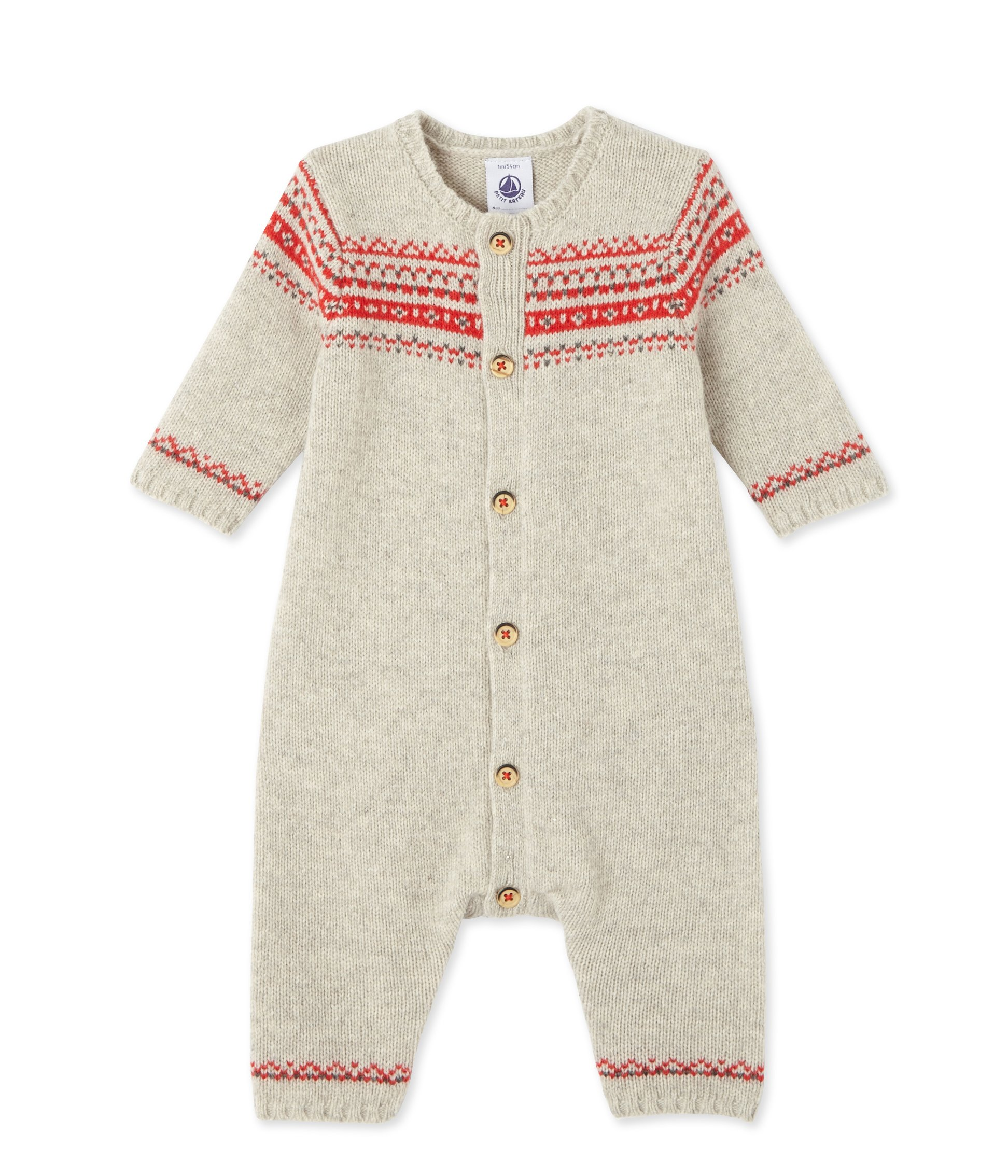 Petit Bateau Romper with Jacquard, Beige/Red, 0-3 Months Baby