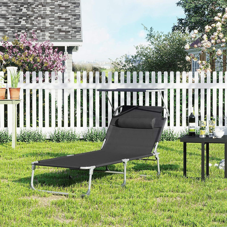 Gartenliege SONGMICS Sonnenliege 71 x 200 x 38 cm extra gro/ß bis 150 kg belastbar Garten schwarz GCB22BK mit Kopfst/ütze und Sonnendach Liegestuhl klappbar R/ückenlehne verstellbar