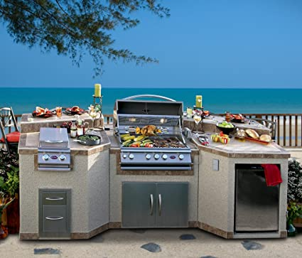 Cal Flame 3 Piece Outdoor Kitchen Island e3100 Island with 4-Burner Built in Grill & Amazon.com: Cal Flame 3 Piece Outdoor Kitchen Island e3100 Island ...