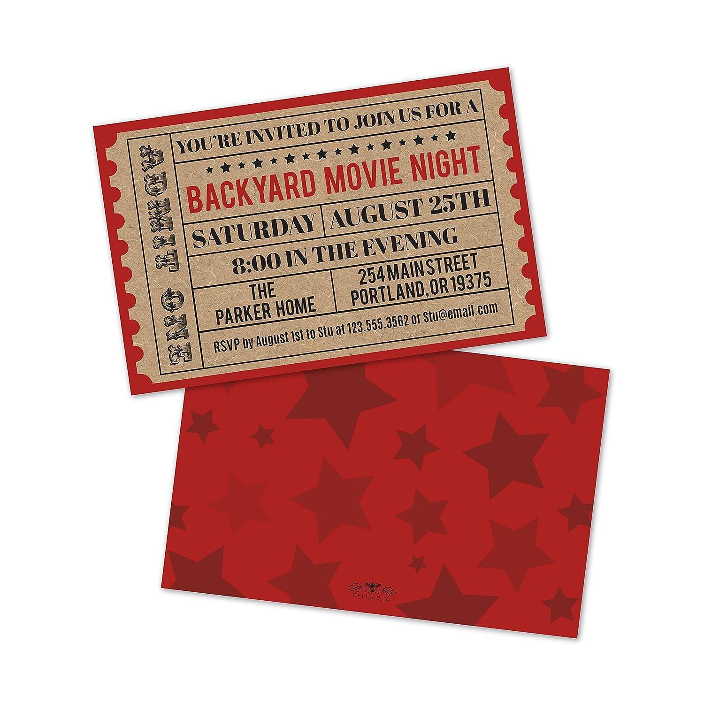 Amazon.com: Personalized Backyard Movie Night Invitations: Health ...