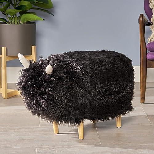 Christopher Knight Home Kamla Furry Yak Ottoman, Black, Natural Finish