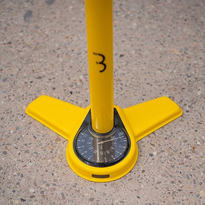 BBB BFP-27 Cycling AirSteel BFP-27-Bomba de pie con man/ómetro 670 mm Unisex Bomba de Mano con DualHead 3.0 para Presta Dunlop y Schrader Color Amarillo