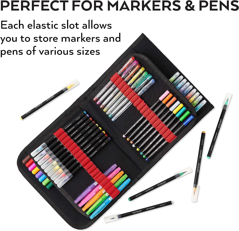 Mallette organiseur feutres crayons ARTEZA Pochette Fermeture /éclair Mallette coloriage et dessin 108 porte-feutres /élastiques Poign/ée de transport Sangle amovible