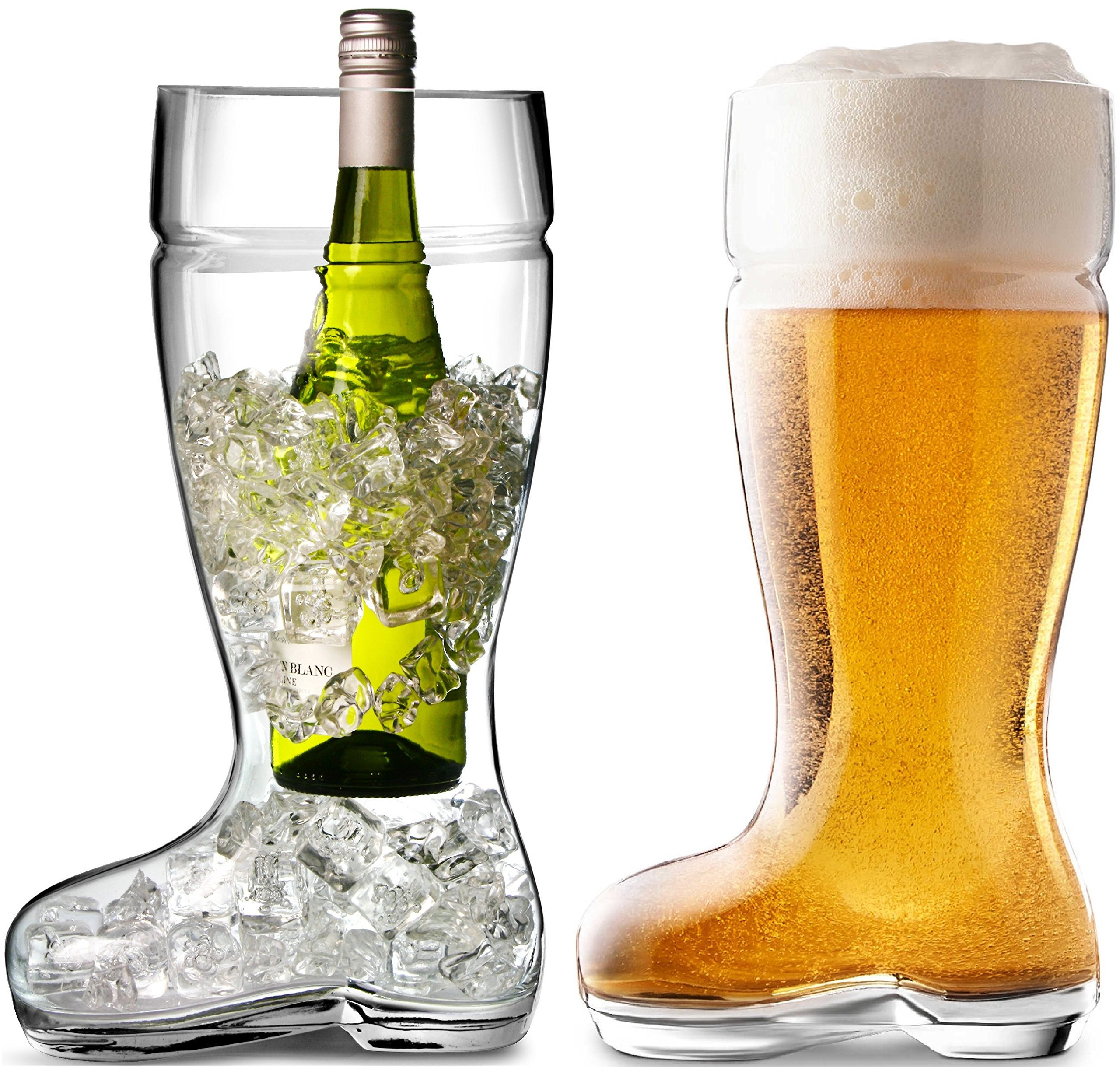 Circleware Das Boot Glass Beer Glasses Drinking Mug, Funny Shaped Entertainment Beverage Glassware for Water, Juice, Iced Tea, Liquor and Bar Barrel Liquor Dining Decor, 1 Boot, Large 1 Liter by Circleware (Image #5)