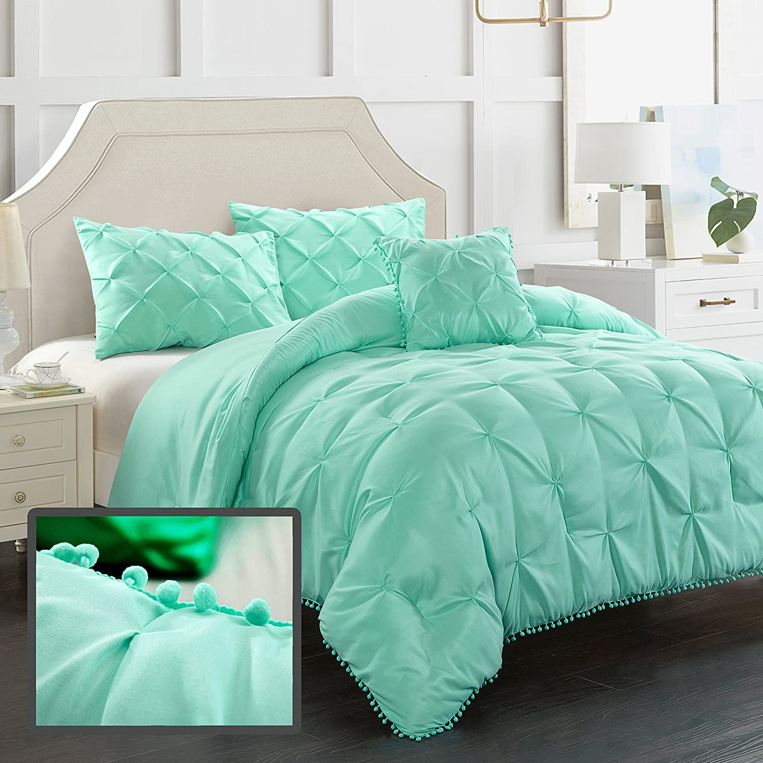 EVOLIVE 3pc Set Pinch Pleat/Kiss Pleat, Pintuck Down Alternative Comforter Set with Pompom (Twin, Mint)