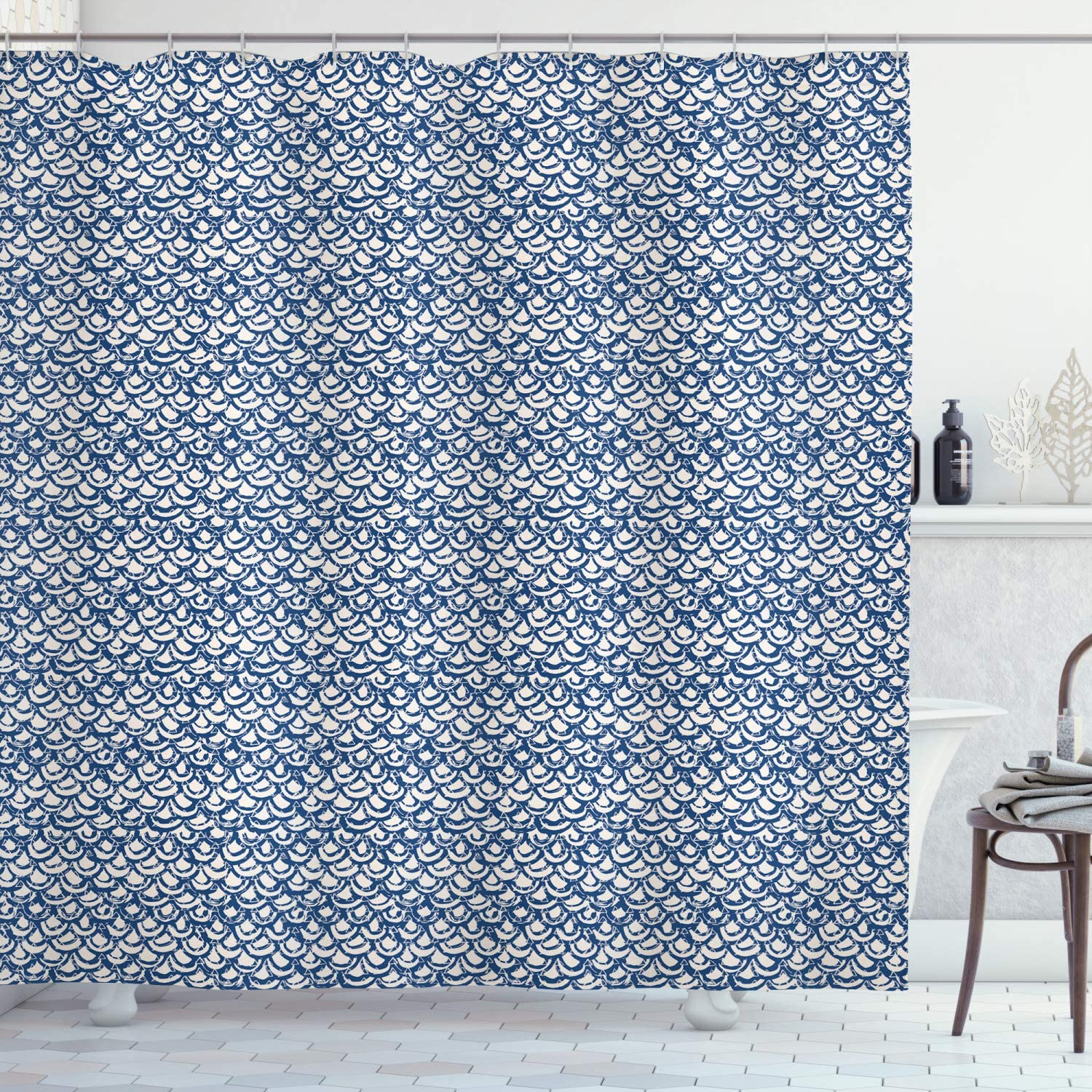 """Ambesonne Ethnic Shower Curtain, Hand Drawn Style Indonesian Batik Pattern with Curves and Small Triangles, Cloth Fabric Bathroom Decor Set with Hooks, 70"""" Long, Navy Blue"""