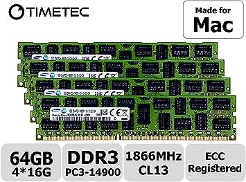 4x16GB PC3-14900 DDR3 1866MHz ECC Memory Macpro 6,1 2013 3.7GHz Quad-Core 64GB