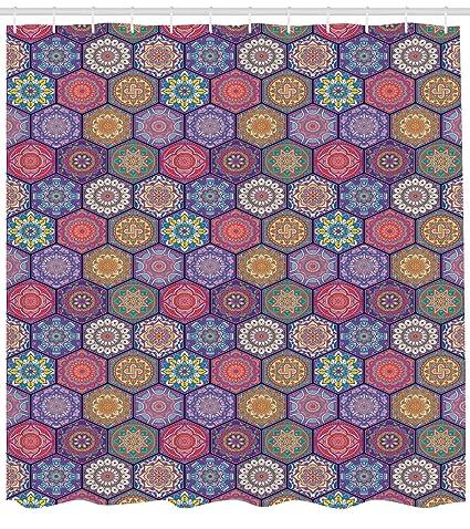 ABAKUHAUS Mandala Cortina de Baño, Patrón Hexagonal Arreglo de Cultura Oriental y Flores Antiguas Antigüedad
