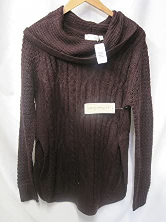 La Classe Couture Womens Cowl Neck Cable Knit Sweater Maroon Large