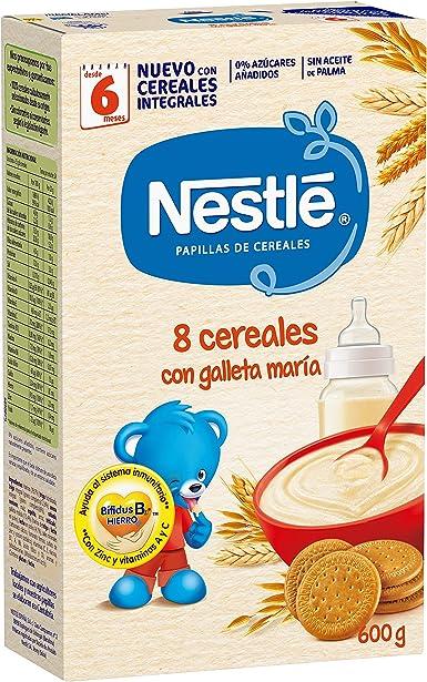 Nestlé Papilla 8 cereales con galleta María - Alimento Para bebés - Paquete de 6x600 g - Total: 3.6kg: Amazon.es: Alimentación y bebidas