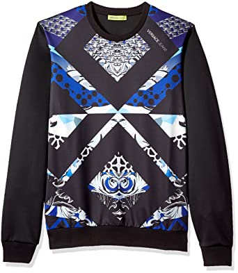 Versace Jeans Men's Printed Graphic Sweatshirt, Nero, S
