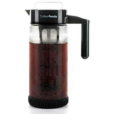 Cold Brew Coffee Maker By Coffee Panda - Protective No Slip Base - 44 Ounce / 1.3 Quart Heavy-Duty Glass Pitcher with Easy To Clean Reusable Mesh Filter - Dishwasher Safe - Iced Coffee and Tea Brewer