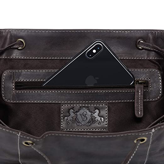 665c32fae1c39 SID   VAIN Rucksack Leder Charly groß Backpack Tagesrucksack Stadtrucksack  Unisex Lederrucksack mit gepolstertem Gerätefach braun  Amazon.de  Koffer