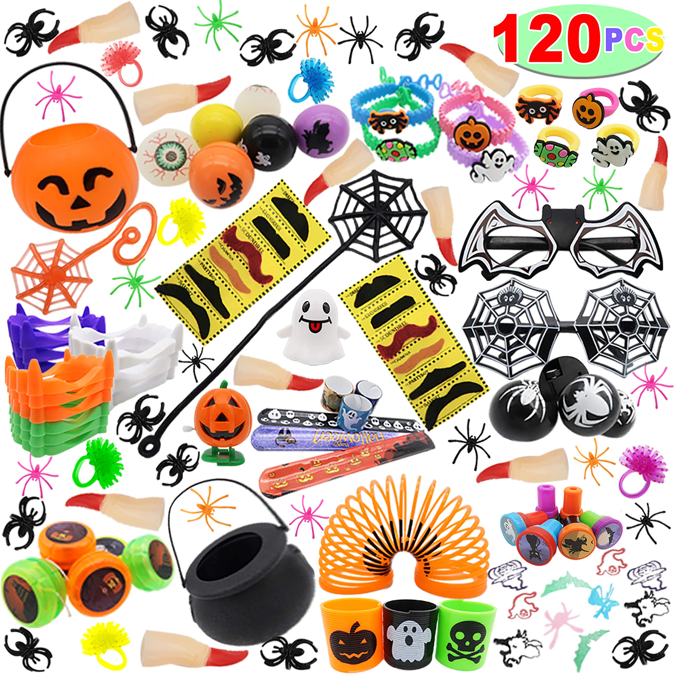 120 PCs Halloween Assortment Party Favors Toys for Halloween Trick or Treat Goody Bags Prizes, Classroom Reward, Miniature Novelty Goodie Bag Fillers, Treasure Chest Toys. by Kiddokids